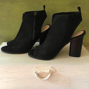 Gianni Bini black suede peep toe booties